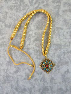 Macrame Necklace with Brass Pendant With Bue Red by magnumrx, $19.95