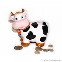 """Moneybox """"Swiss Cow"""" Funny moneyboxwhich the children will definitely love. The pocket money in a great moneybox to throw can like everyone. Pocket Money, Cute Cows, Money Box, Save Your Money, Everything Baby, Hello Kitty, Baby Kids, Children, Switzerland"""
