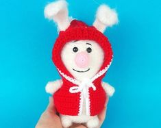Crochet Christmas rabbit toy Knitted white hare White rabbit in red hood Christmas decoration Home decor Christmas present New Year's gift Home Decor Christmas Presents, Christmas Decorations, Christmas Ornaments, Holiday Decor, Rabbit Toys, Red Hood, New Year Gifts, Crochet Toys, Crochet Christmas