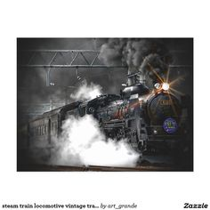 steam train locomotive vintage transport postcard