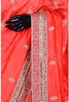 Pure Handloom Silk Embroidery-Coral Red-Bead Work-WH1088