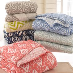 Pine Cone Hill | Varkala Indigo Quilt | Named for Annie%27s favorite beach in India, this soft, drapey, lightweight cotton quilt has a reversible pattern that%27s exclusive to its color combination.