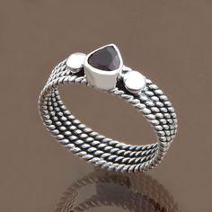 FINE JEWELLERY 925 SOLID STERLING SILVER Garnet RING 3.71g DJR8578 S-8 #Handmade #Ring