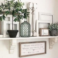 Explore farmhouse style shelf decor ideas for your bedroom, living room, and kitchen walls. Learn what to use and how to arrange shelf decor pieces. Ballard Designs, Farmhouse Side Table, Farmhouse Decor, Modern Farmhouse, Country Farmhouse, Farmhouse Shelving, Vintage Farmhouse, Farmhouse Bathrooms, Farmhouse Lighting