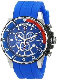 Swiss Legend Men's 10348-03 'Ocean Abyssos' Stainless Steel Watch with Blue Silicone Strap * Details can be found by clicking on the image.