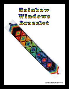 Rainbow Windows Bracelet Bead Pattern Chart INSTANT DOWNLOAD by Violetbead on Etsy