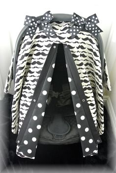 car seat canopy, car seat cover, mustache, black, ivory, polka dots, chevron, baby car seat, infant girl, baby girl, baby boy, infant boy on Etsy, $42.99