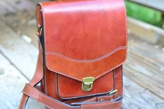 Leather messenger bag by Lambach on Etsy