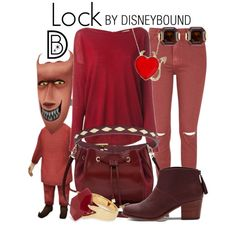 Lock by leslieakay on Polyvore featuring P.A.R.O.S.H., Glamorous, TOMS, M&Co, Lola Rose, FOSSIL, Henri Bendel, Halloween, disney and disneybound