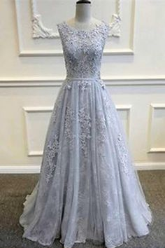 Gray tulle lace round neck A-line homecoming dress with applique,party dress