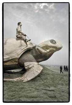 """Searching for Utopia"", by Belgian artist Jan Fabre. At Nieuwpoort beach, Belgium."