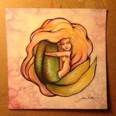 Mermaid!     #tail #underwater #underthesea #ink #illustration #littlemermaid #jellywellart #hair #hairmagic #girl #siren #sirenita #art #artfido #artcollective #mermaid #mermaidlove #mysiren