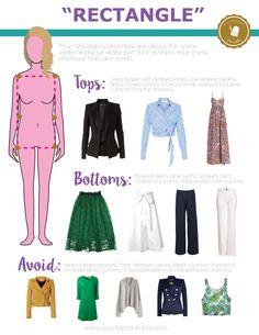 Dress acordingly to your body shape rectangle body shape clothing. Fashion Terms, Fashion Mode, Petite Fashion, Look Fashion, Fashion Outfits, Woman Outfits, Womens Fashion, Dress For Body Shape, Shape Wear