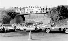 """First lap of the 1959 """"L.A. Examiner Grand Prix"""" at Pomona, March 8, 1959.  Glyer in #16 is mid-pack here.  He finally finished 6th overall after many of the top contenders DNF'd.  Following here are:  #21, Irv Lehr, Cooper-Porsche; #49, Bob Drake, Cooper-Climax; #29 Joe Playan, Porsche RS; #170 Ed Vincent, Ferrari 500TR #0636MDTR; #88 Jim Rathmann, John Edgar's Ferrari 4.9; #2, Harry Hanford, OSCA; #273 Jim Hall, Lister-Chevy."""