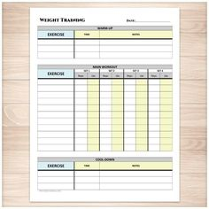 Weight training daily log with warm up and cool down printable