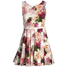 AX Paris Floral Belted Skater Dress ($35) ❤ liked on Polyvore featuring dresses, vestidos, cream, floral, skater dress, belted dress, cream skater dress, floral skater dress and floral pattern dress