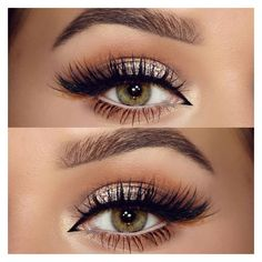 neutral, champagne glitter, softly shaded crease in warm brown, cream... ❤ liked on Polyvore featuring beauty products, makeup, eye makeup and eyes