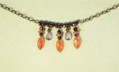 Orange Carnelian Purple Amethyst Necklace by GemStorm on Etsy, $60.00