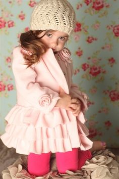 Biscotti By Kate Mack Polar Fleece coat, light pink, has rose details by collar…