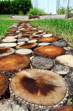 25 Incredible DIY Garden Pathway Ideas You Can Build Yourself To Beautify Your Backyard Log Projects, Outdoor Projects, Garden Projects, Backyard Projects, Path Design, Garden Design, Design Ideas, Rustic Outdoor, Outdoor Decor