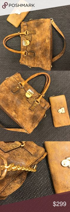 Michael Kors brown & black suede bag & wallet Used like new , bag and wallet  dust bag included, authentic 2 pieces , large gold lock and hardware, chain detail! micheal kors Bags Wallets