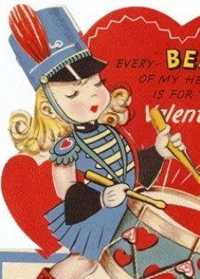 Drum Majorette Valentine Card 1950's Drummer by TheIDconnection, $10.00 Drum Majorette Valentine Card 1950's Drummer Girl http://TheIDconnection.etsy.com retro 50's Romantic Valentine's day http://etsy.me/zf6vrQ via @Etsy