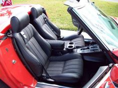 MrMikes Leather Corvette Seat Upholstery Fiero seats in a 1969 Corvette  Custom ordered style: (customer supplied 'Comfort Weave' material, sewn to replicate original corvette)