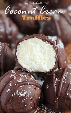 These easy chocolate coconut cream truffles are a coconut and chocolate lovers dream. Coconut Recipes, Milk Recipes, Candy Recipes, Sweet Recipes, Dessert Recipes, Vegan Recipes, Holiday Baking, Christmas Baking, Christmas Candy