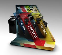 ADIDAS TECHFIT on Behance. This is an example where design took over the function. How would customers get to the shirts with the display covering them? You want them to step on the display with that tiny space and possibly break it? The customer would have to pull out a shirt awkwardly from the side just to see it because the display covers the merchandise.
