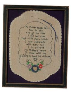 My Mother Taught Me (11x14 Framed Art), Zions Merchantile. This sweet re-creation of a 19th-century needlepoint will touch the heart of any mom, especially one who loves sewing and/or embroidery, and for any mom or woman whose mother shared that love with her. #realmoms