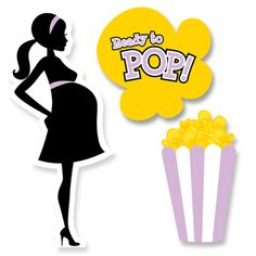 Ready To Pop Purple Baby Shower Cutouts   Candles and Favors