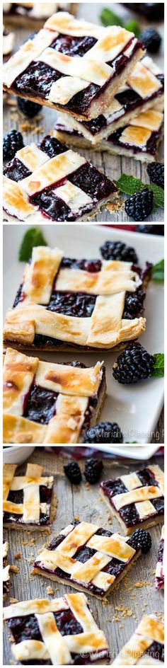 These super easy Blackberry Pie Bars are a real treat with a buttery shortbread crust, a berry packed fruit filling and a secretly easy lattice crust. Step by step photos included
