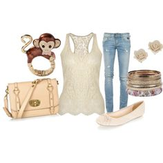 lace top and jeans my niece would love the ring!! :)