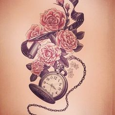 Clock & flower tattoo...instead of film strip it would be music notes
