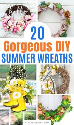 20 Lovely DIY Summer Garden Wreaths- These DIY summer garden wreaths are lovely and will be so inviting and welcoming! Make them as homemade gifts or keep them for yourself! | #diy #wreaths #diyWreaths #crafts #ACultivatedNest Summer Diy, Summer Garden, Garden Hose Wreath, Diy Wreath, Wreaths, Succulent Wreath, Types Of Craft, Love Garden, Dollar Store Crafts