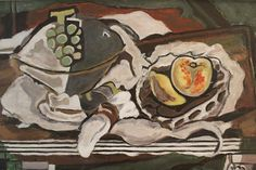 Mid Century painted copy of, Fruit Dish and Fruit Basket by Georges Braque. This reproduction was painted in 1952 by, Mildred L. Moore. We also have an original by the same artist listed. painted on board and ready to hang with wire.   Measurements: 18 x 29 3/4