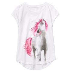 Girl White Pony Tee by Gymboree