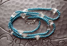 Necklace - Blue Faux Pearl - Glass Beads - Long Handmade Beaded Necklace by TheYellowHouse39 on Etsy