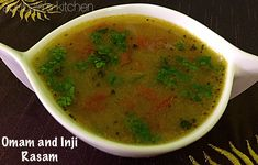 Today I made a new rasam with omam ( ajwain / carom seeds) and Inji (ginger )as I wanted to make something light and therapeutic. Both omam and ginger are very good for digestion and relieving flat… Soup Recipes, Snack Recipes, Cooking Recipes, Indian Soup, Rasam Recipe, Indian Food Recipes, Ethnic Recipes, Vegetarian Snacks, South Indian Food