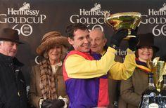Richard Johnson - winning jockey of the 60th Hennessy Gold Cup at Newbury Racecourse on November 26, 2016 in Newbury, England.