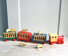 Vintage Handmade Circus Train / Wood Toy Animals by ethanollie #socialcircus