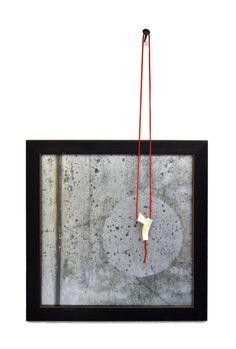"Kristin Beeler Pendant: Imply 2013 Mother of pearl, coral, aluminum, paint 25"" Digital print on aluminum 18""x18"""