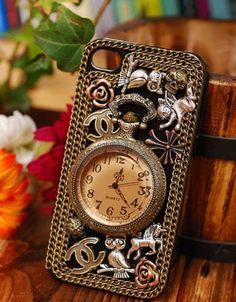 Antique pocket watch stud iphone 4/4s case iphone 4/4s