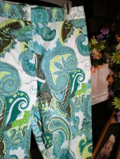 KATE HILL Petite Pants Slacks Floral Geometric 12P Multi Color Cotton Blend EUC #KateHill #CasualPants