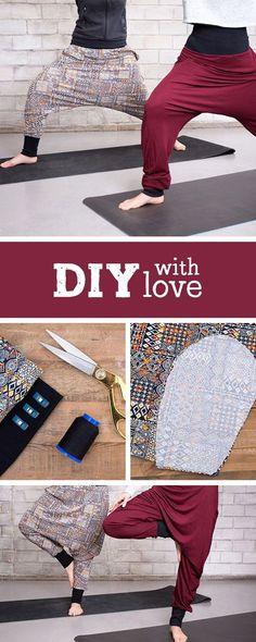 Nähanleitung für eine gemütliche Haremshose, Yogapants selbermachen / diy sewing pattern for comfy yoga pants via DaWanda.com