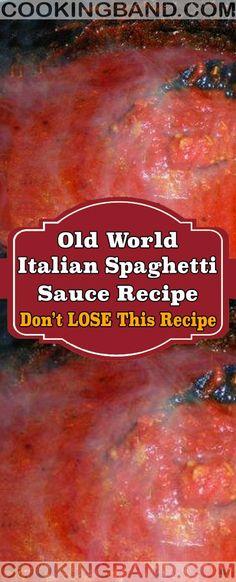 Old World Italian Spaghetti Sauce Recipe Italian Spaghetti Sauce, Italian Tomato Sauce, Homemade Spaghetti Sauce, Spaghetti Recipes, Homemade Sauce, Italian Red Sauce Recipe, Pasta Sauce Recipes, Pasta Sauces, Meat Recipes