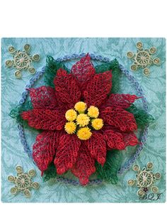 Quilled Poinsettia with Snowflakes