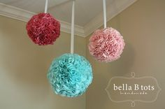 Bloom Balls: SET of THREE (2 medium, 1 large) - Fabric Flower Balls