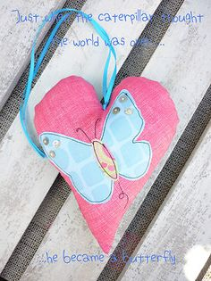 Hanging Padded Heart Decoration With Applique Butterfly MOP Buttons SHABBY CHIC   eBay