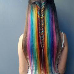 Hidden Rainbow cascade Rp by @jaymz.marsters #hair #hairstyle #hairstylist…